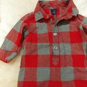 ❄Baby Gap red and gray flannel jumper