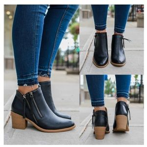 Double outside zipper almond toe bootie