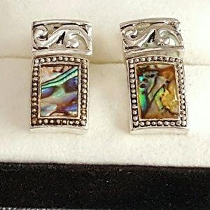 Abalone Earrings Silvertone