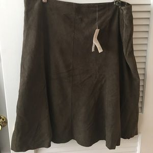 Eileen Fisher NWT Green Suede Skirt XL