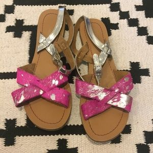 Pink and silver metallic sandals