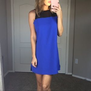 Parker Silk Blue and Black Dress Size Medium
