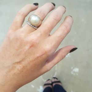Jewelry - Genuine Sterling Silver and White Pearl Ring