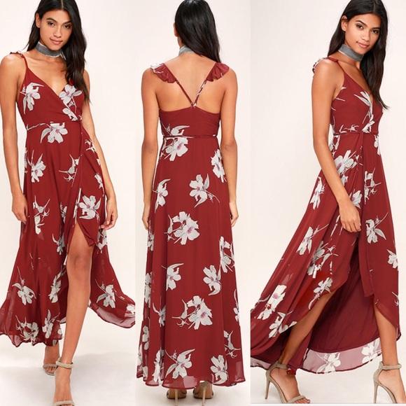 fa654bbaa4 Lulu s Dresses   Skirts - Lulus all mine red wine floral wrap dress
