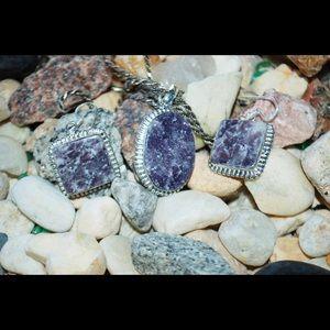 Lilac-Gray Lepidolite Pendant/Earrings,Free Chain