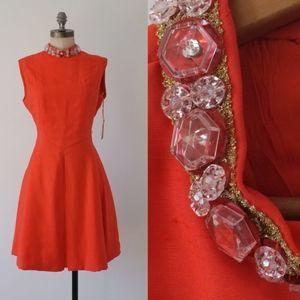 vintage 60s orange dress   jeweled collar dress