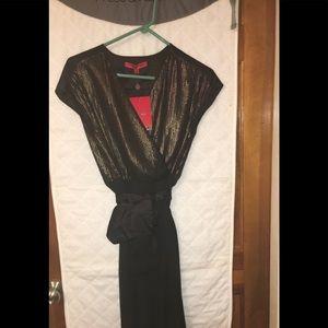Black sleeveless wrap dress