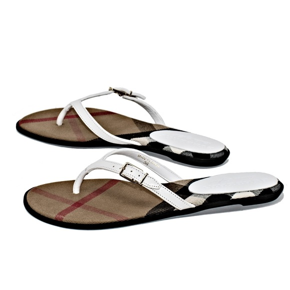 d0f1aa574b88b2 NEW BURBERRY MEALOW LEATHER THONG SANDALS