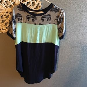 Tops - NWOT Color block top with elephants