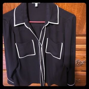 Express black and white button down shirt
