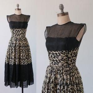 vintage 50s black dress   embroidered black dress