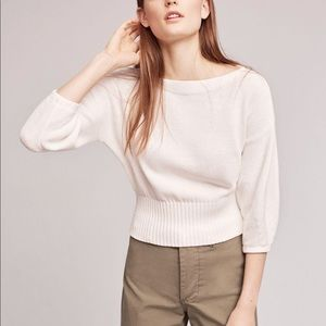 Anthropologie Cropped Balloon-Sleeve Pullover S