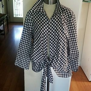 Neiman Marcus Bingham Plaid Top