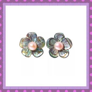 🌺Abalone Shell Flower Earrings with Pearl🌺