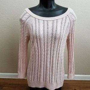 Sweaters - Soft Pink Wool Blend Round Neck Sweater Autumn Sm