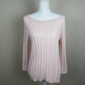 Soft Pink Wool Blend Round Neck Sweater Autumn Sm
