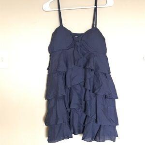 Navy Diagonally Tiered Ruffle Dress Size Small