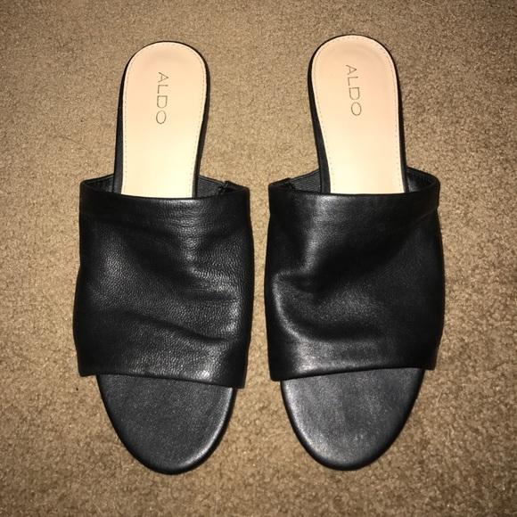 Aldo Shoes   Aldo Black Leather Slides