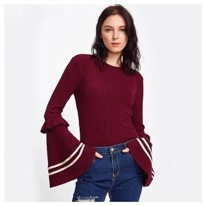 Tops - Burgundy Flared Bell Sleeve Knit Top