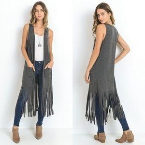 Jackets & Blazers - Long Fringe Vest Duster Front Pockets T shirt Feel