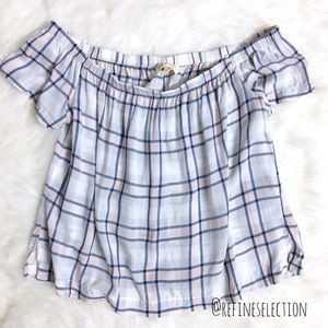 Cloth & Stone Plaid Off The Shoulder Top