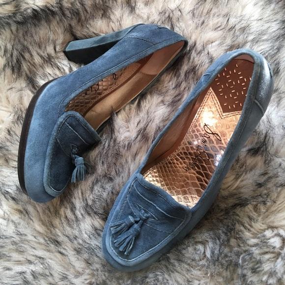 Sam Edelman Shoes - Sam Edelman Blue Suede Heels Vintage Inspired