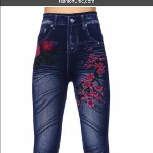 Pants - Denim with flowers seamless leggings.