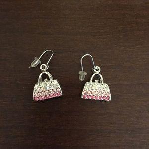 Jewelry - Silver pink hanging purse earrings