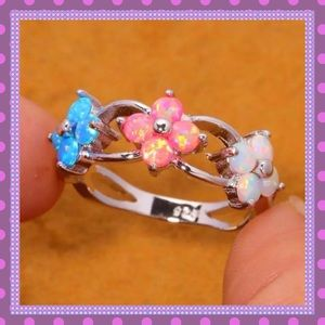 🌸Blue, Pink & White Fire Opal Ring🌸