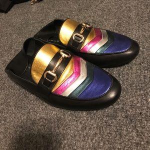 Steven Leather Multi Metallic Loafers Mule Slipper