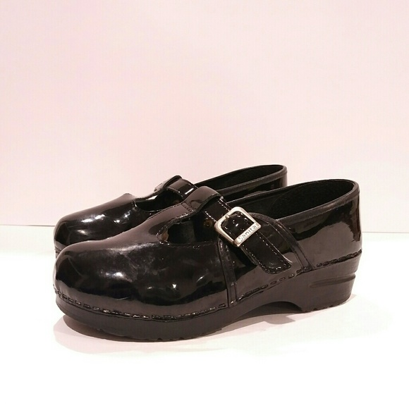 9863198d263d Sanita Mary Jane T strap patent leather clog mule