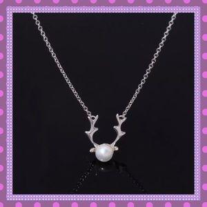 🦌SS Buckhorn Pearl Pendant Necklace🦌