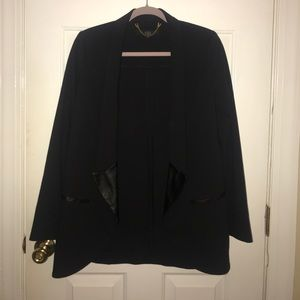 Tibi Black blazer with leather accents size 6