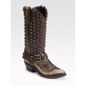 Ash studded cowboy boots in brown