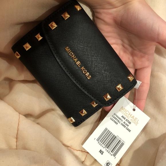 32c794d3a507 NWT Black studded MICHAEL KORS small wallet. M_59fa637c9c6fcf65b20035a0