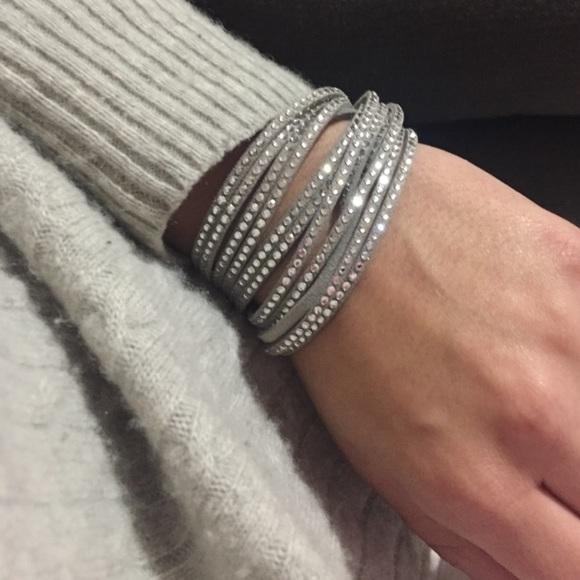 SALE!!! Swarovski Suede and Crystal Wrap Bracelet