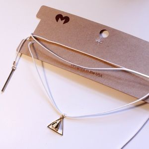 Jewelry - White String Choker/Necklace with Gold Details