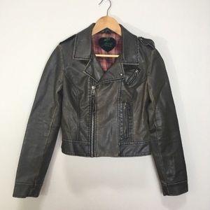 Jack BB Dakota Brown Faux Leather Moto Jacket