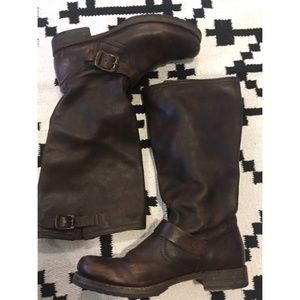 Frye brown buckle boots