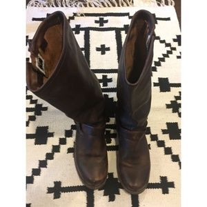 Frye Shoes - Frye brown buckle boots