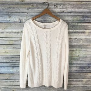 J. Crew Factory Cream Cable Knit Sweater