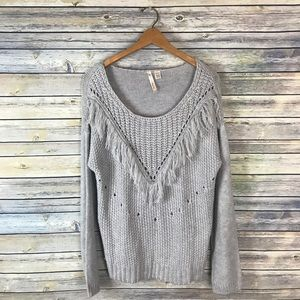 By Design Gray Chunky Boho Fringe Sweater