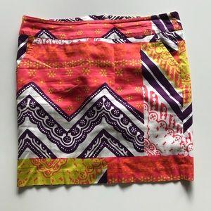 Trina Turk Color Block Floral Mini Skirt Pencil