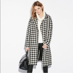 Jackets & Blazers - Magaschoni || Black Wool Houndstooth Midi Coat