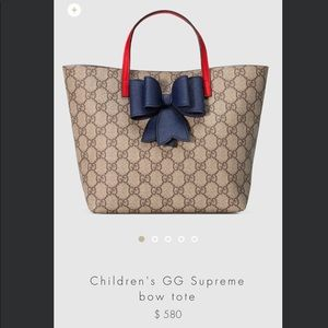 d2799dbcc5a9 Gucci Bags   Authentic Childrens Gg Supreme Bow Tote   Poshmark