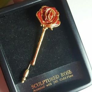 Jewelry - New 24K Gold Plated Rose Brooch