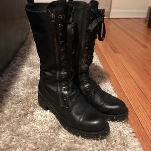 DKNY leather lace up combat boots with studs
