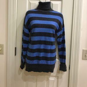 Cashmere and cotton blend striped turtleneck