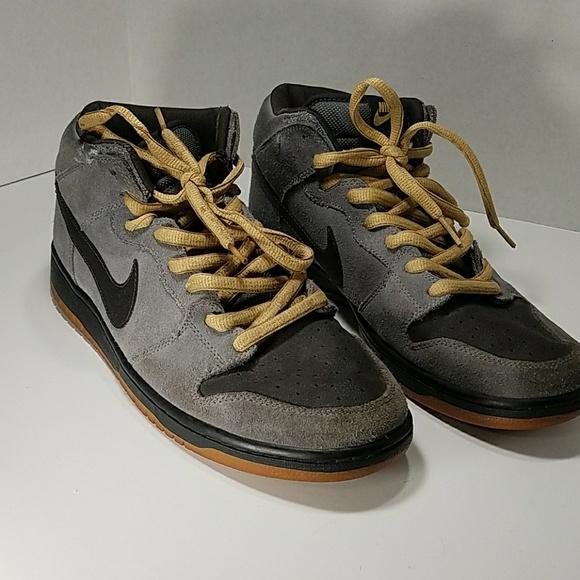 Nike Shoes Black And Grey Sb Hi Tops Yellow Laces Poshmark