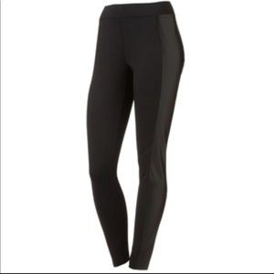 Pants - Leather Panel Leggings